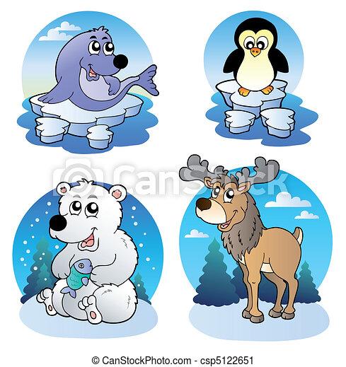 Various cute winter animals - csp5122651