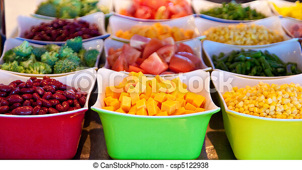 Pictures of cheese and vegetables on salad bar containers of fresh csp5122938 search - Salads can grow pots eat fresh ...