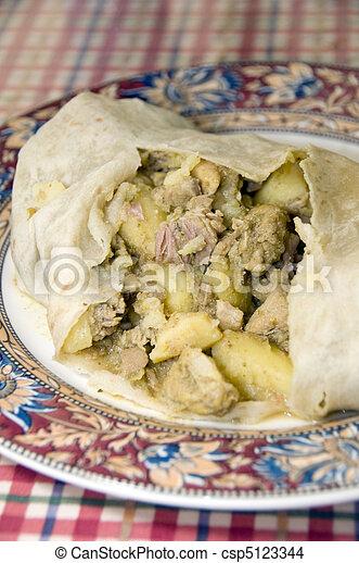 chicken roti food st. lucia west indies - csp5123344