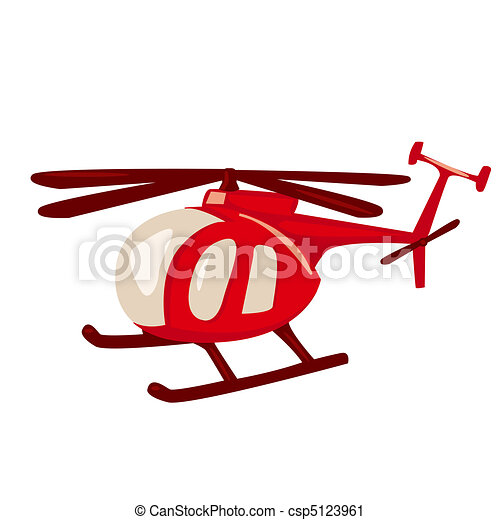 Cartoon style red helicopter  - csp5123961