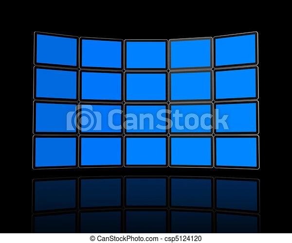 Wall of flat tv screens - csp5124120