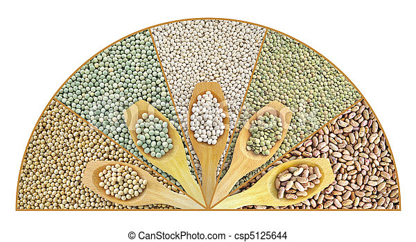 Collage of dried lentils, peas, soybeans, beans with wooden spoon - csp5125644