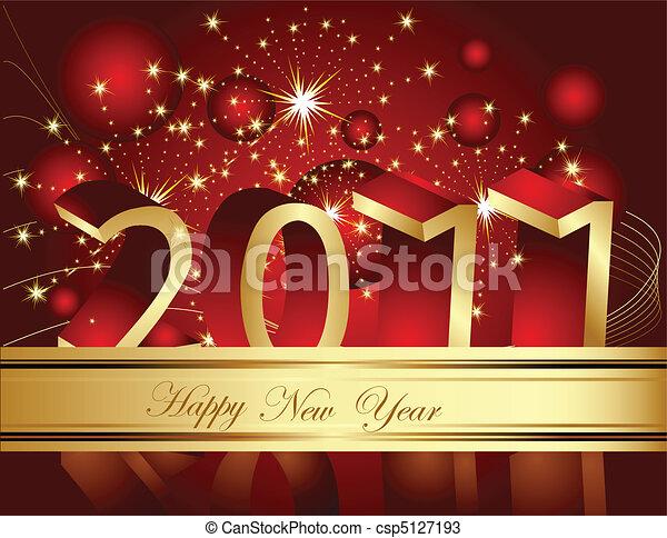 Happy New Year 2011 background - csp5127193
