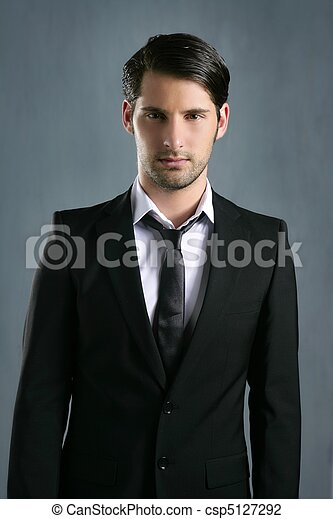 Fashion trendy elegant young black suit man - csp5127292