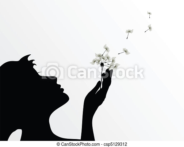 The girl blows on a flower a dandelion. A vector illustration - csp5129312