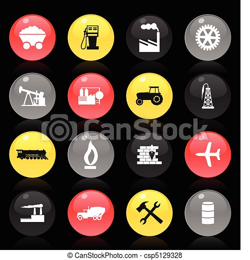Collection of buttons on a theme the industry on a black background. A vector illustration - csp5129328