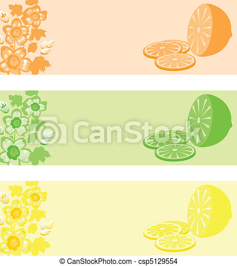 Lemon in three colour variations. A vector illustration - csp5129554