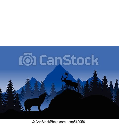 Mountain landscape with a wolf and a deer. A vector illustration - csp5129561