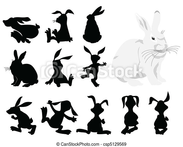 Black silhouettes of a rabbit in movement. A vector illustration - csp5129569