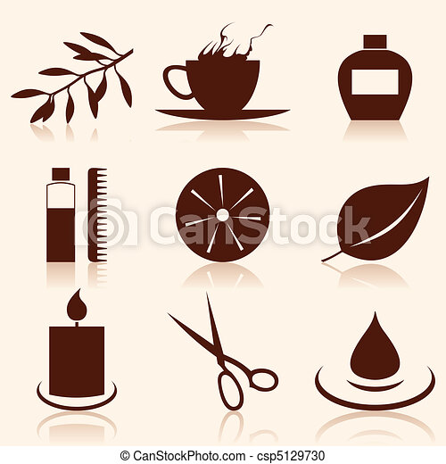 Set of icons on a theme spa. A vector illustration - csp5129730