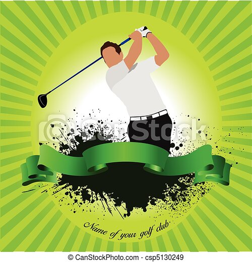 Golfer hitting ball with iron club - csp5130249