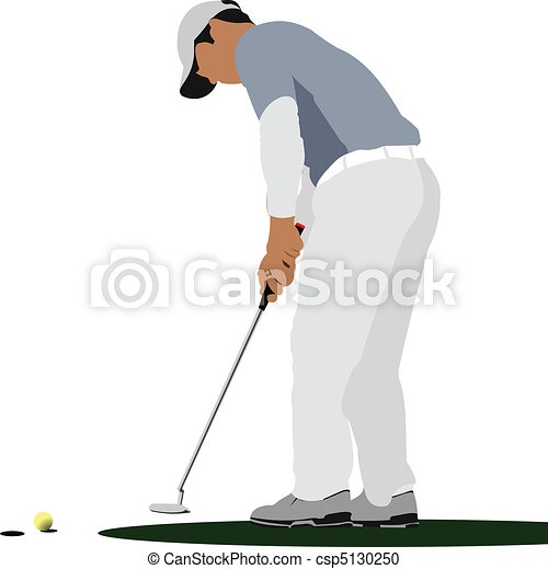 Golfer hitting ball with iron club - csp5130250
