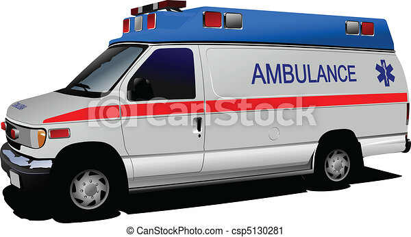 Modern ambulance van over white. C - csp5130281