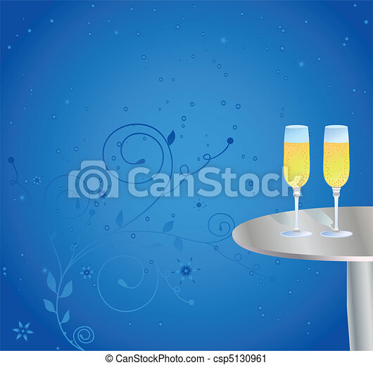 Glasses of champagne on the table - csp5130961