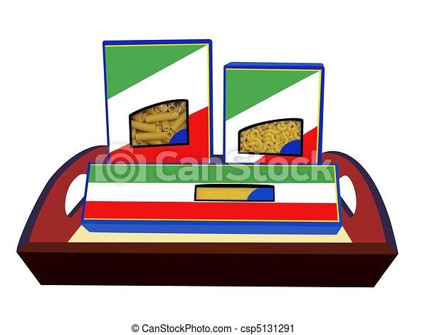Pasta Macaroni Boxes on Tray - csp5131291