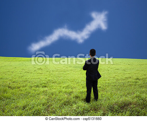 Businessman stand in the meadow and watch the business  profit graph of cloud - csp5131660