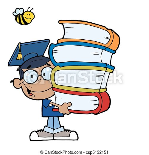 African American Boy With Books  - csp5132151
