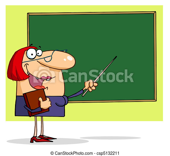 Teacher Pointing To A Chalkboard  - csp5132211