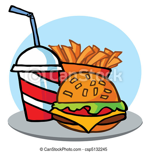 Cheeseburger With Drink And Fries  - csp5132245