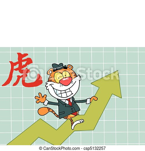 Business Tiger On A Profit Arrow - csp5132257
