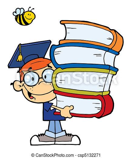 Graduation Boy With Books - csp5132271