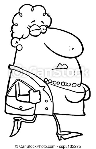 Outlined  Woman Carrying A Purse - csp5132275