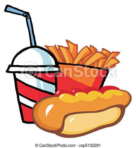Hot Dog With French Fries And Drink - csp5132291