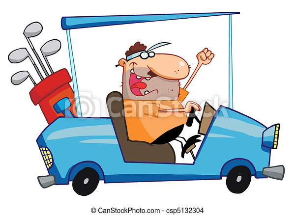 Happy Golfer Drives Golf Cart - csp5132304