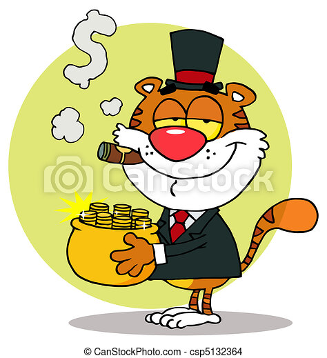 Rich Tiger Carrying A Pot Of Gold - csp5132364