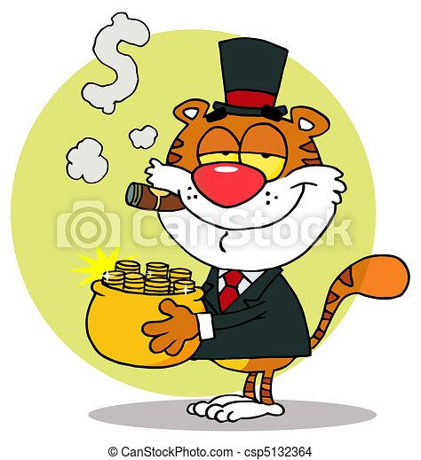 Rich Tiger Carrying A Pot Of Gold - csp5132364