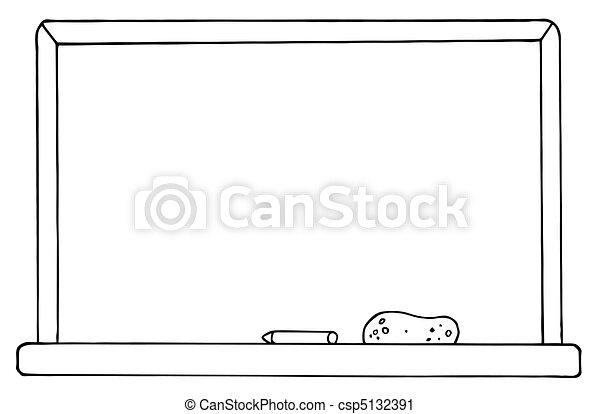 Tafel clipart schwarz weiß  Vektor Clip Art von tafelkreide, schule, brett - Outlined ...