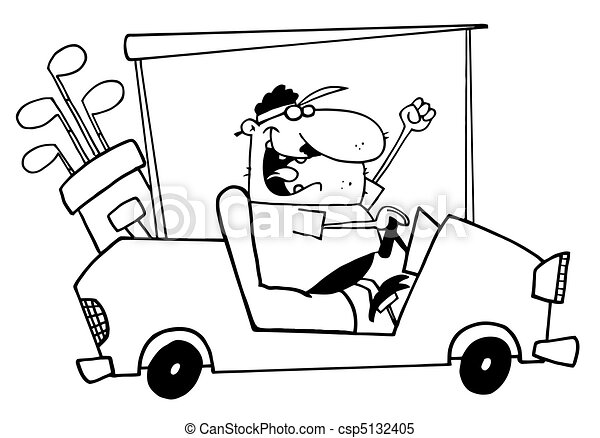 Outlined Golfer Guy Driving A Cart - csp5132405