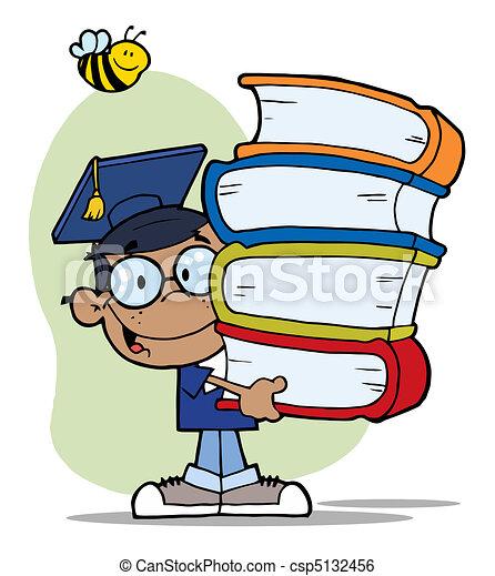 Happy Black Graduate School Boy  - csp5132456
