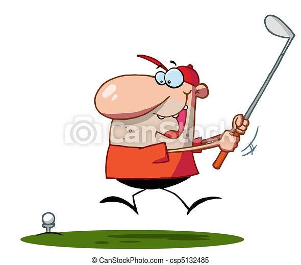 Lucky Man Swings Golf Club - csp5132485