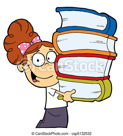 Girl With Books In Their Hands - csp5132532