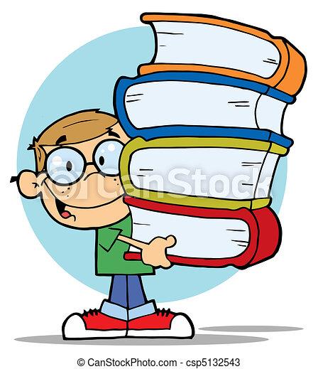 Vectores de niño, con, Libros, en, su, Manos - elegante, sucio ...