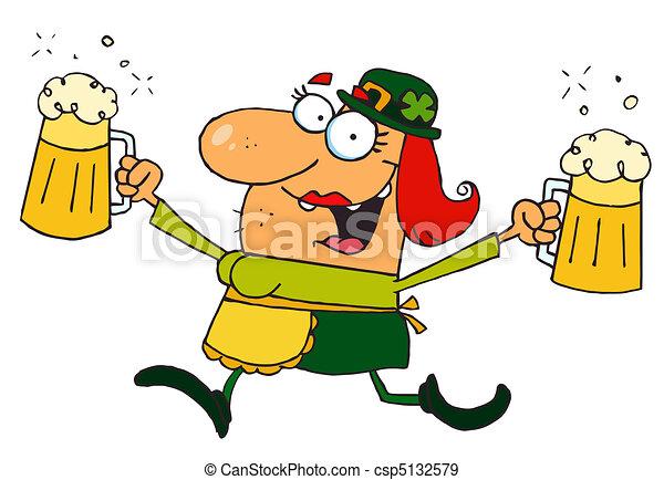 Female Leprechaun Running With Beer - csp5132579