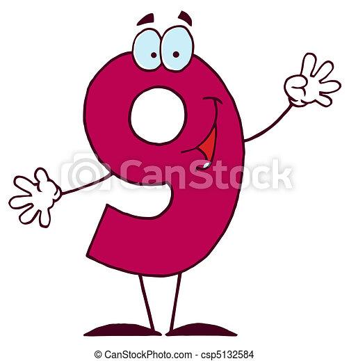 Cartoon Character Happy Numbers 9 - csp5132584