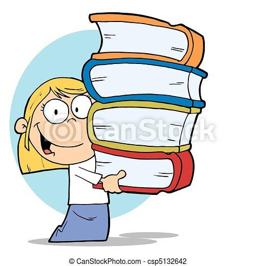 Bücherstapel clipart  Vektor Illustration von m�dchen, tragen, buecher, stapel - Blond ...