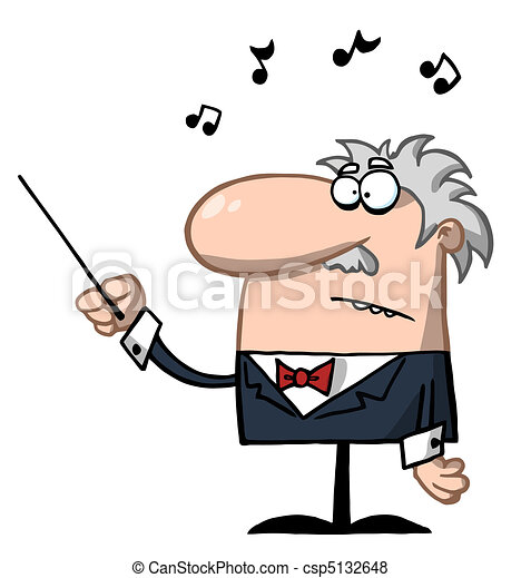 Senior Conductor Waving A Baton - csp5132648