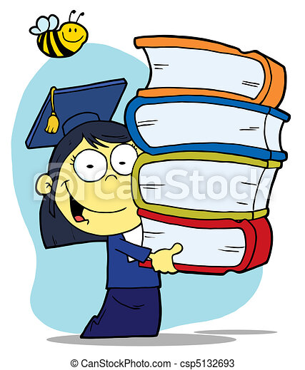 Girl Carrying A Stack Of Books - csp5132693