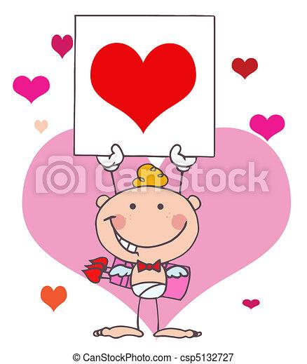 Cartoon Stick Cupid with Banner - csp5132727
