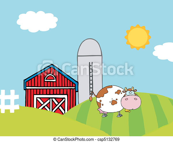 Cow On A Hill Near A Silo And Barn - csp5132769