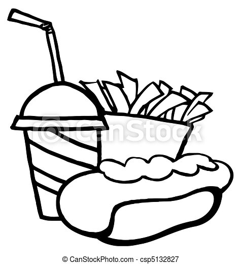 Hot Dog Drawing Hot Dog Drink And French Fries