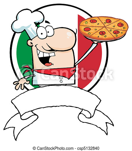 Logo-Proud Chef Holds Up Pizza - csp5132840
