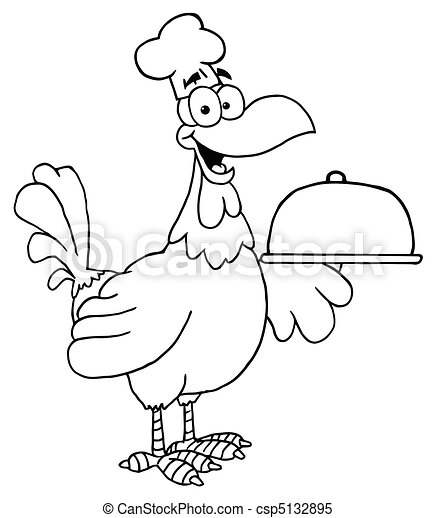 Outlined Rooster Chef Serving A Pla - csp5132895
