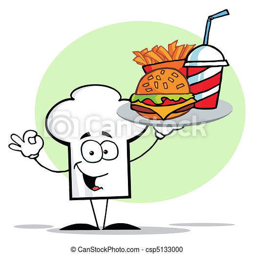 Chef Hat Guy Serving Fast Food - csp5133000