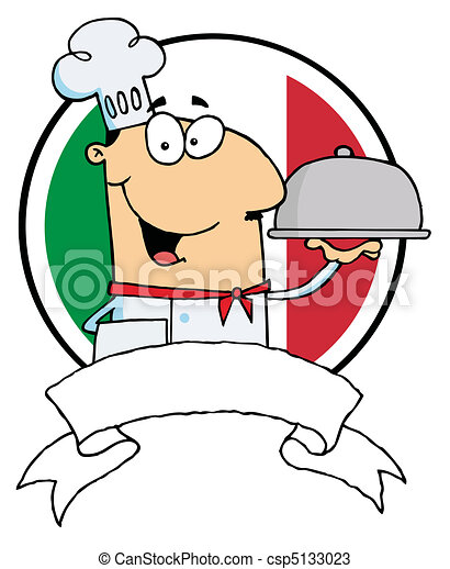 Cartoon Male Chef Serving Food - csp5133023