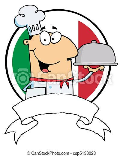 Cartoon Male Chef Serving Food  - csp5133023
