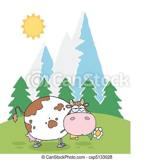 Mountain Dairy Cow With Flower - csp5133028